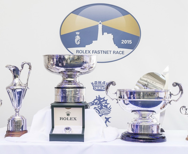 Trophies at the final price giving of the Rolex Fastnet Race 2015