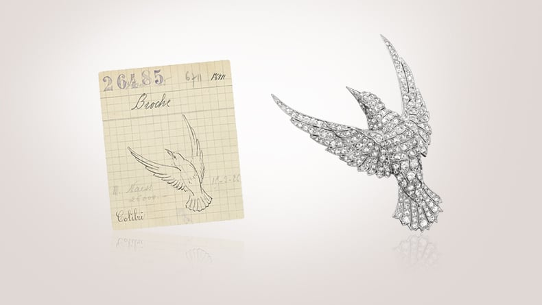 Retail card of a Hummingbird brooch, 1925 / Hummingbird brooch, 1925, platinum, diamonds