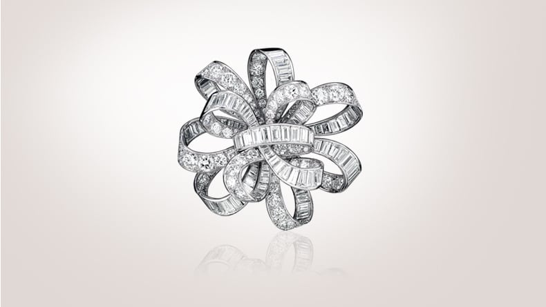 Floating Ribbon brooch, 1937, platinum, diamonds, in the former collection of Countess de Beaurepaire