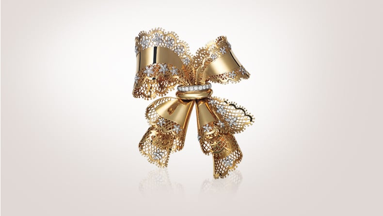 Lace bow clip, 1945, platinum, gold, diamonds