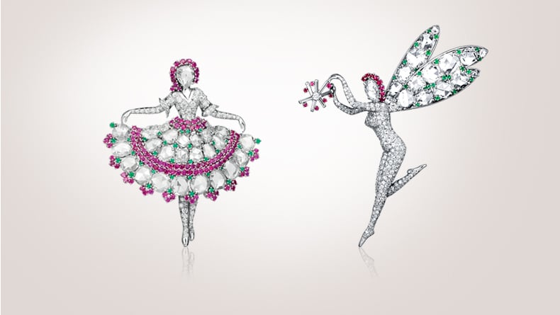 Ballerina clip, 1943, platinum, rubies, emeralds, diamonds / Fairy clip, 1948, platinum, emeralds, rubies, diamonds