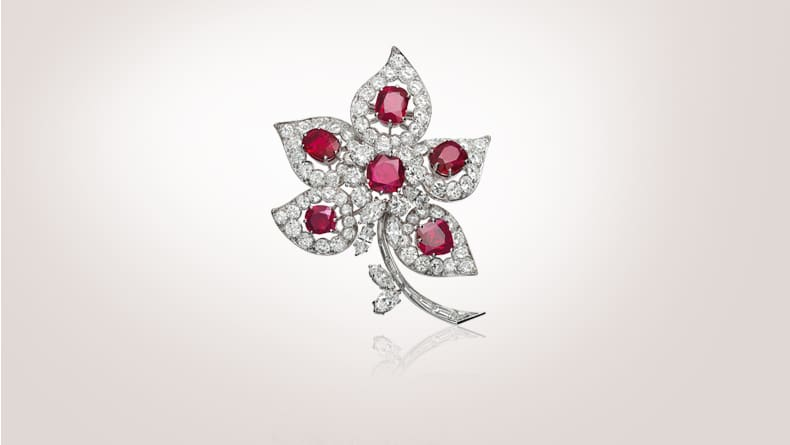 Five leaves clip, 1967, platinum, rubies, diamonds, in the former collection of opera singer Maria Callas