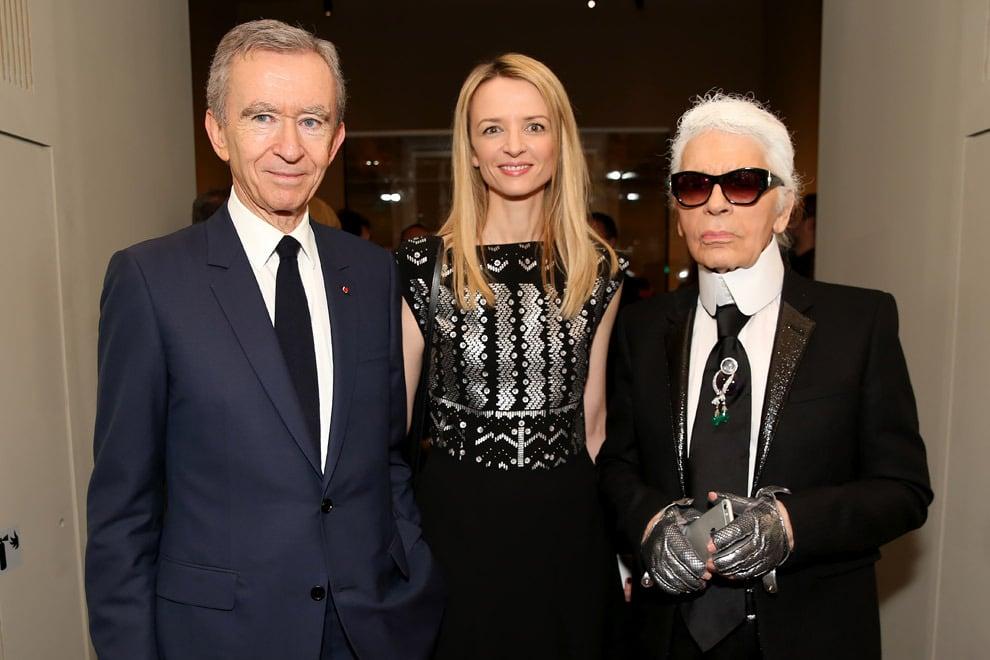 Louis Vuitton Exhibition - Бернар Арно, Дельфина Арно и Карл Лагерфельд