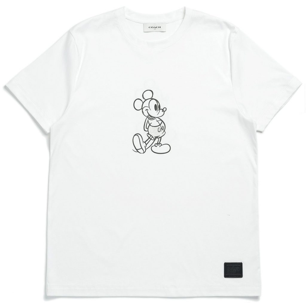 Disney and Coach work together. White t-shirt