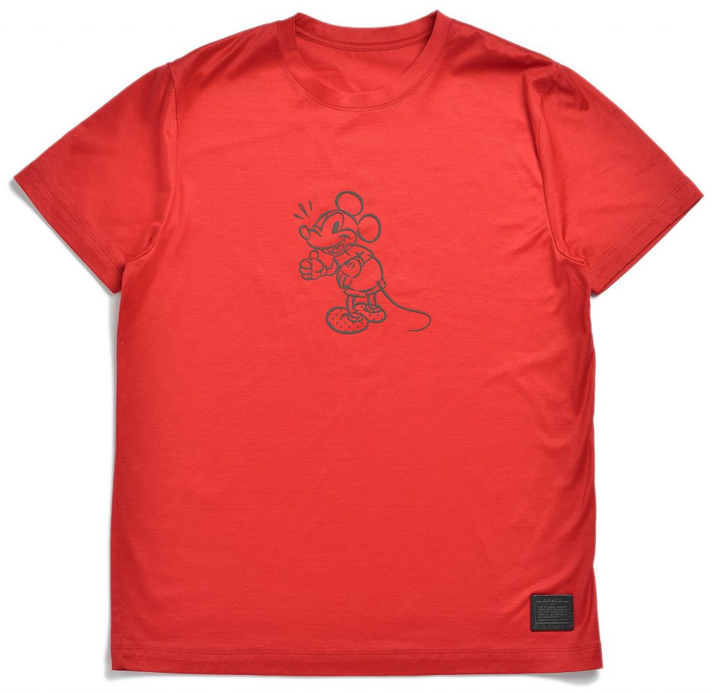 Disney and Coach work together. Red t-shirt
