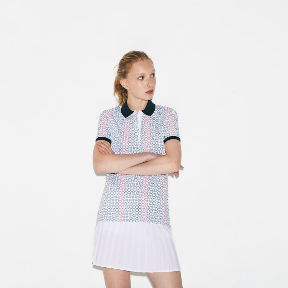 Lacoste women Mini Pique Polo with red stripes
